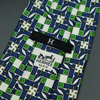 Vintage Hermes Paris Made In France Boot Pattern Silk Tie 454 HA