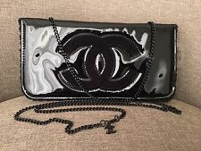 Chanel VIP Gift Cross Body Shoulder Bag Clutch Glossy Black Brand New Authentic
