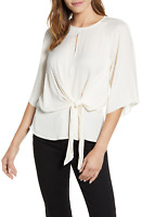 Vince Camuto Women's Ivory White Tie-Front 3/4-Sleeves Satin Blouse Size XS 8209