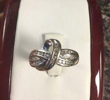 beautiful white gold diamond criss cross ring band