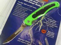Havalon 60ABOLT-GX Green Black Piranta Bolt Folding Knife + Sheath + 12 Blades
