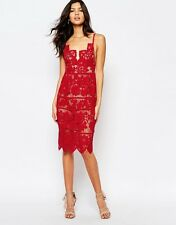 SALE  FOR LOVE & LEMONS:(SIZE:=S) GIANNA HOT RED LACE MIDI DRESS NWT MSRP$260
