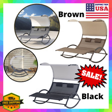 Patio Double Chaise Lounge Bench Chair Rocking Hammock Swing Bed Outdoor/Pool Us