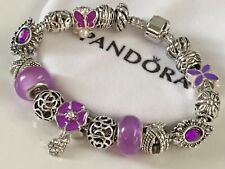 "EUROPEAN STYLE CHARM BRACELET with BEADS< PURPLE BEAUTY>7.5"" Long+VELVET POUCH"