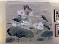 Lee Reynolds Oil Painting WATERLILYS Artist Signed 5' X 4'  MID CENTURY VTG