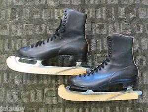 Vintage ICE SKATES BLACK SIZE 10 BAUER CANADA  CLUB CAPRI SPEED FIGURE HOCKEY