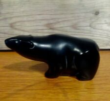 VINTAGE INUIT POLAR BEAR CARVING. BOMA HAND CARVED STONE BEAR.