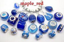 20pcs mixed Royal Blue Charms Beads Fit European Bracelet DIY Jewllery Gift
