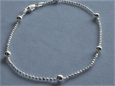 "Link w/ 4mm Beads Italy 925 Sterling Silver 11"" Ankle Bracelet Bead"