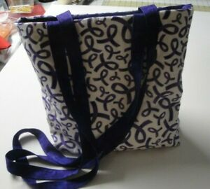 Purple Ribbons on White Background Tote Bag-Machine Quilted-Hand Made