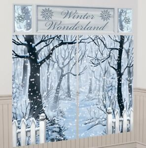 6ft Winter Wonderland Snow Xmas Scene Setter Wall Banner Party Prop Decorations