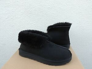 UGG MATE REVIVAL BLACK SUEDE/ SHEEPSKIN SLIPPERS, WOMEN US 7/ EUR 38 ~NIB