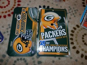 Green Bay Packers license plate lot, 2004, 2007 North Champs sign New & Vtg NFL