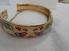 Hinged Bracelet Light Gold Tone with Fire bird Design blue Red Green White
