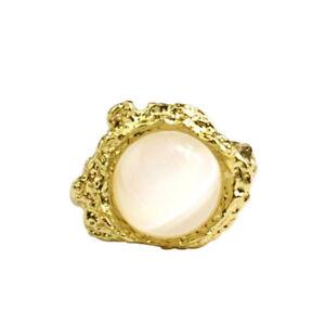 Lady's New Simple Inlaid Opal Moonstone Irregular Rings Creative Fashion Jewelry