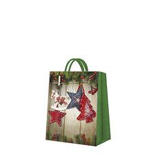 Navidad papel impreso Regalo presente Bolsa Navidad & Stars Mediano Rojo Y Verde