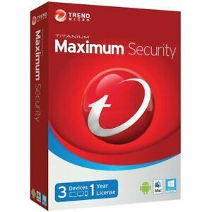 Trend Micro Maximum Security 2021 3 PC / Geräte 1 Jahr | Vollversion / Upgrade