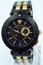 Versace Men's Watch Black Gold Swiss Made Brand Watch New Certified