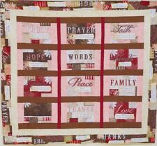 """Handmade Quilt - Words To Live By - Bible verses-Tans-Light Corals-49"""" x 44-1/2"""""""