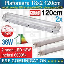 PLAFONIERA STAGNA LED 120 CM NEON DOPPIA T8 PER ESTERNO 2 NEON 18W LED INCLUSI