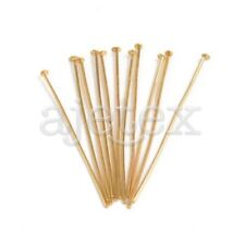 245pcs Gold Plated Head Pins 30x0.7x0.7mm 21 Gauge Jewelry Making Findings