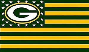2 Green Bay Packers Stars & Stripes Flag Waterproof Vinyl Stickers 5x3  Decal