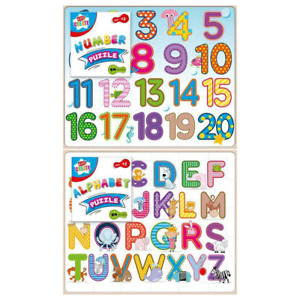 KIDS TODDLER EDUCATIONAL WOODEN ALPHABET NUMBER JIGSAW PUZZLE LEARNING LETTERS