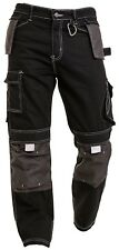 Mens Black Cargo Pants Knee Pad Pocket Combat Outdoor wear Warehouse Trouser