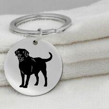 Labrador Retriever Dog Canine Black Silver Stainless Steel Keychain