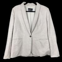 J Crew Womens Parke Blazer Stretch Linen Blend Beige Flax One Button Size 12