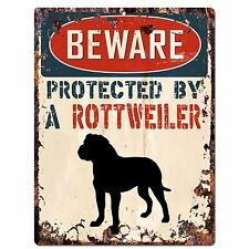 PP2100 BEWARE PROTECTED BY A ROTTWEILER Rustic Plate Chic Sign Home Door Decor