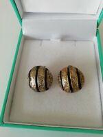 Vintage Gold Tone Black Glitter 80s Power Dressing Statement Post Earrings Retro