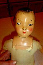 "Vintage 17"" Composition Doll Asian Cloth Body Cryer Molded Hair"