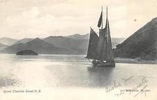 QUEEN CHARLOTTE SOUND SAIL SHIP NEW ZEALAND POSTCARD (c. 1907)