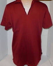 HUGO BOSS Mens Polo Rugby V-Neck Shirt Short Sleeve S Small Wine Maroon Italy