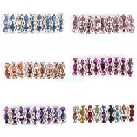 100Pcs Silver Plated Rondelle Rhinestone Crystal Spacer Beads 8x3.5mm