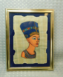 Egyptian Papyrus Hand Painted Picture Framed Nefertiti Souvenir
