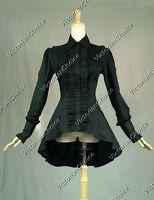 Victorian Steampunk Gothic Vintage Women Black Blouse Shirt Comic Con Punk B007
