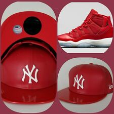 New Era New York Yankee Red Faux Leather snapback hat Jordan 11 Gym Red