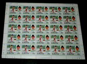 LIBERIA #1051, 1987, CALGARY WINTER OLYMPICS, SHEET/25, MNH, NICE LQQK