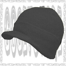 Jet Black Watch Skull Cap Beanie Stock Winter Visor New Toboggan Skully 1 Hat