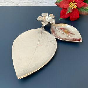 Silver Metal Flower Leaf Trinket Jewellery Display Bedside Decorative Tray Dish