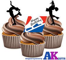 12 Happy Birthday Pattinaggio sul ghiaccio SILHOUETTE Mix Commestibili TAZZA DECORAZIONI PER TORTA supporto UPS