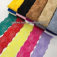 BF158 1 yard, Flower Stretch Lace Trim Ribbon Elastic lace Sewing DIY Headband