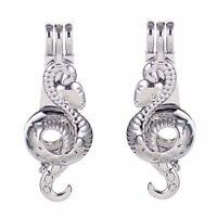 5Pcs Fashion Snake Shape Locket Beads Pearl Cage Pendant Jewelry Bracelet Making