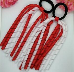 2x Korker Girls Elastic Hair Bobbles   Ribbon corker School Red and White
