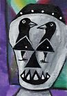 ACEO ORIGINAL Painting~SCARY SKULL~CROW EYES~FIGURATIVE~BRUT OUTSIDER ~SMOODY