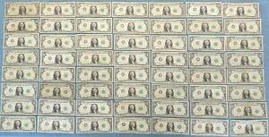 Lot of 56 - Joseph W. Barr 1963 B One Dollar Bills