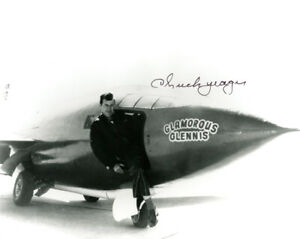 CHUCK YEAGER SIGNED 8x10 PHOTO BROKE SPEED OF SOUND BELL X-1 ICON BECKETT BAS