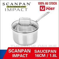 SCANPAN Impact Covered Saucepan with Lid 16 /18 / 20cm. 18/10 stainless steel